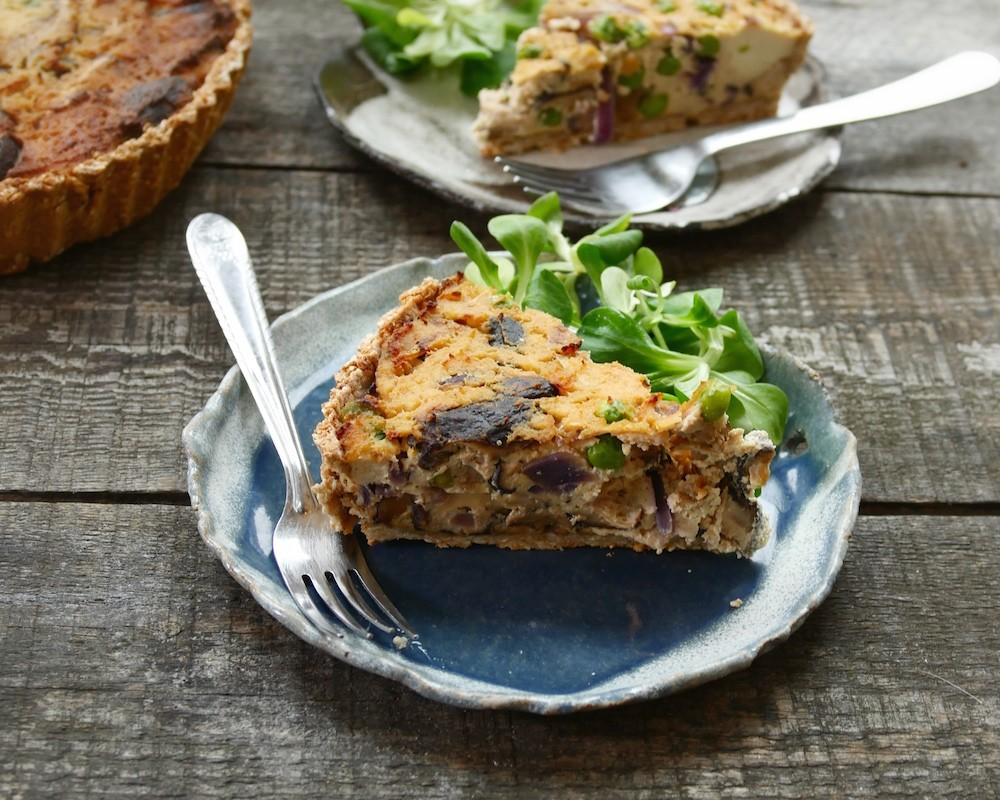 Tofu Quiche with Shiitake & Caramelised Red Onions - Nicky Clinch